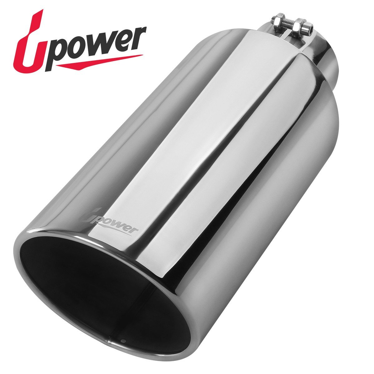 4// Length 9 Upower Pack of 2 Exhaust Tip 2.5 Inch Inlet 4 Outlet 9 Long Double Wall Slant Cut 304 Stainless Steel 2.5 inch//OD