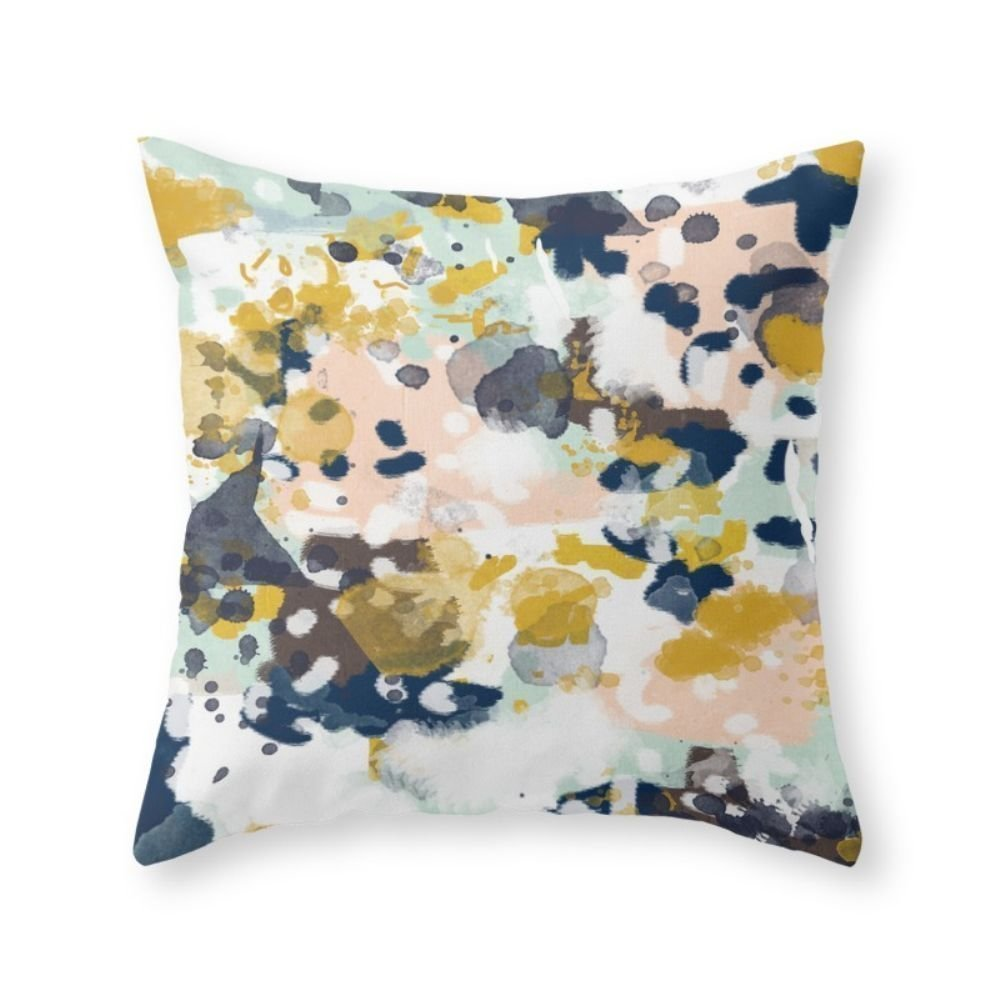 "Society6 Sloane - Abstract Painting In Modern Fresh Colors Navy, Mint, Blush, Cream, White, And Gold Throw Pillow Indoor Cover (18"" x 18"")"