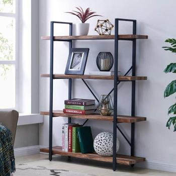 Retro Brown color 4-Tier Industrial Style Bookshelf, Wood and Metal Bookcases Furniture for Collection