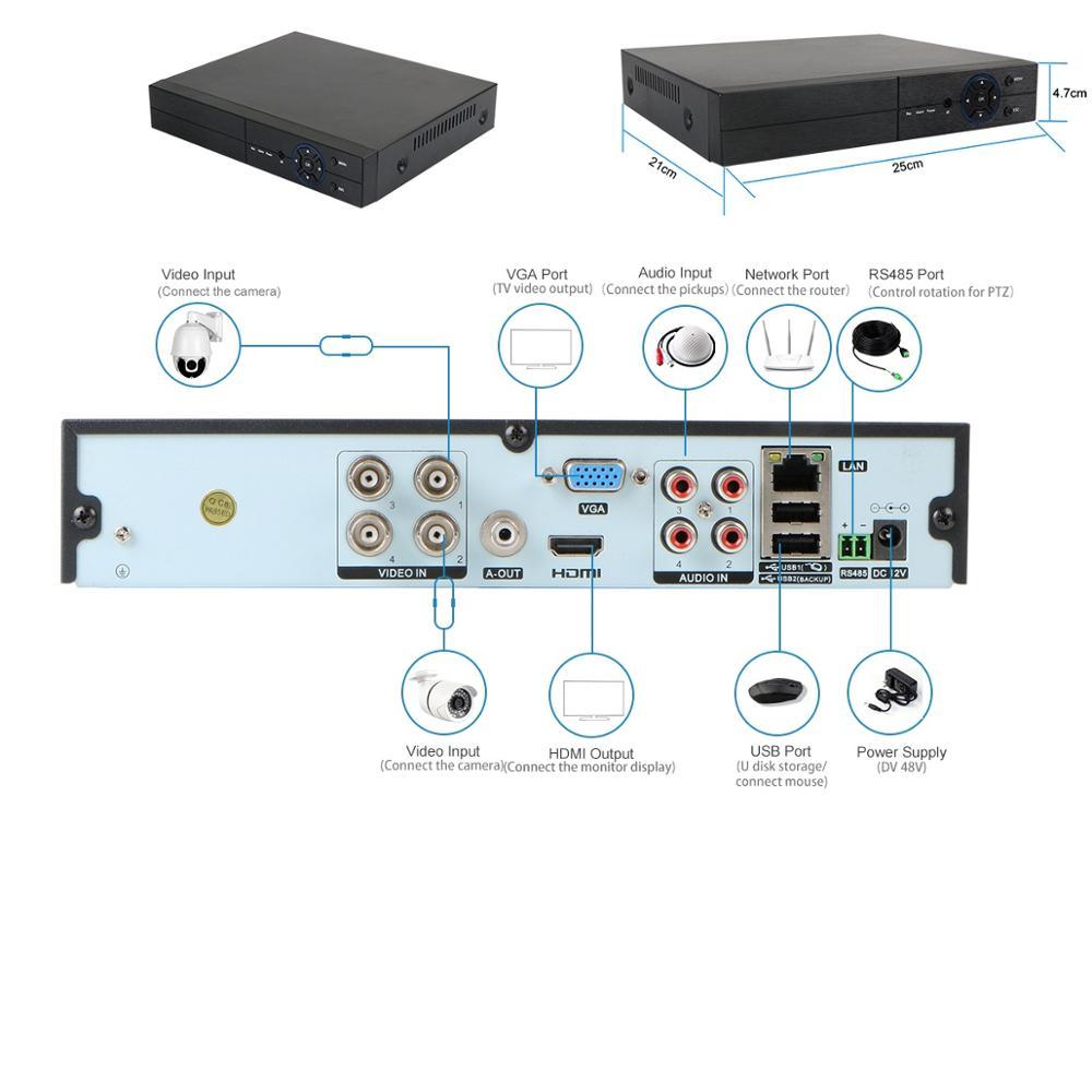 4CH 5MP Analog Surveillance Security System Digital Video Recorder cctv dvr