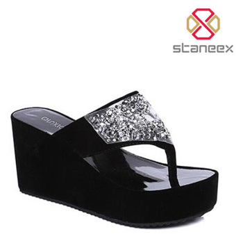12b83041f China WholeSale Fashion Design Flip Flop Thong Sandal Shoes Crystal Women  Wedge Flip Flops