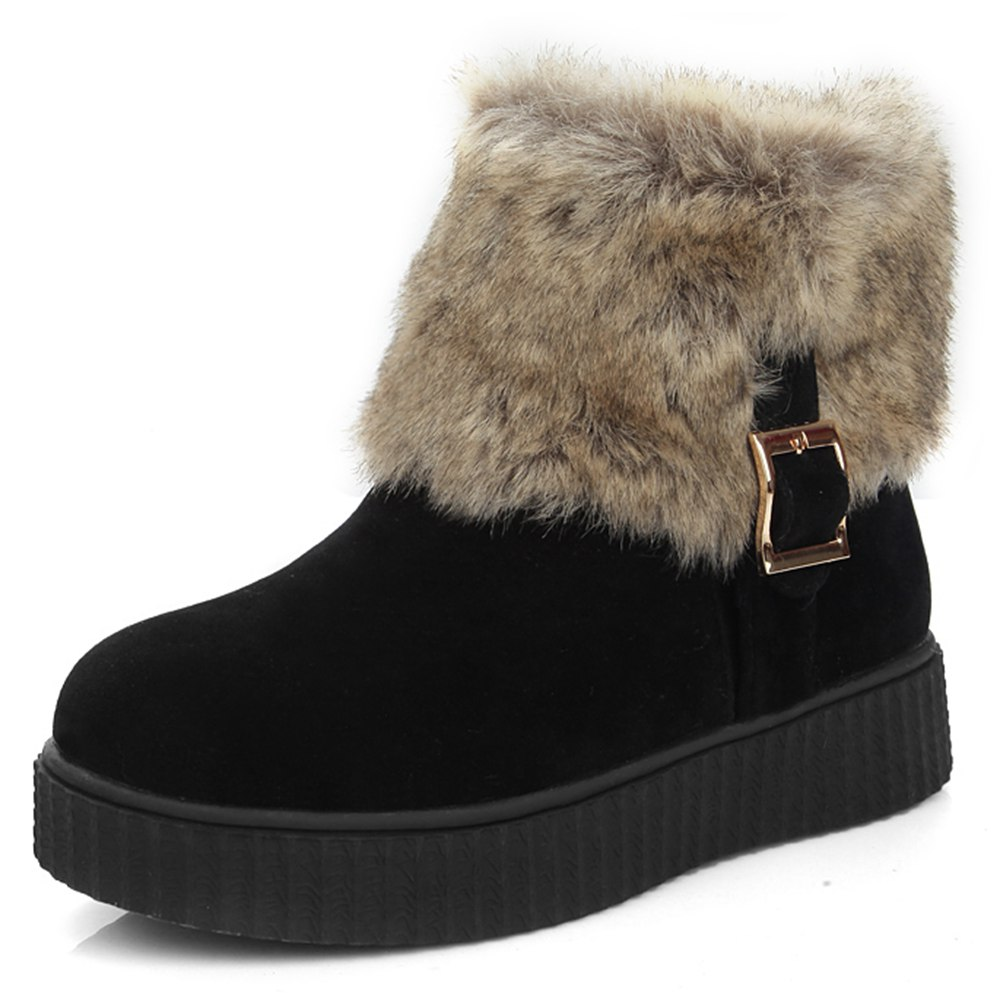 Branded women shoe Flock Platform Buckle Winter ankle boots S054