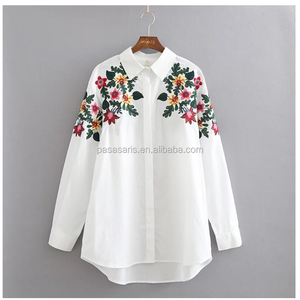 AL2061W Fashion floral embroidery ladies blouse shirt tops women clothing 2017