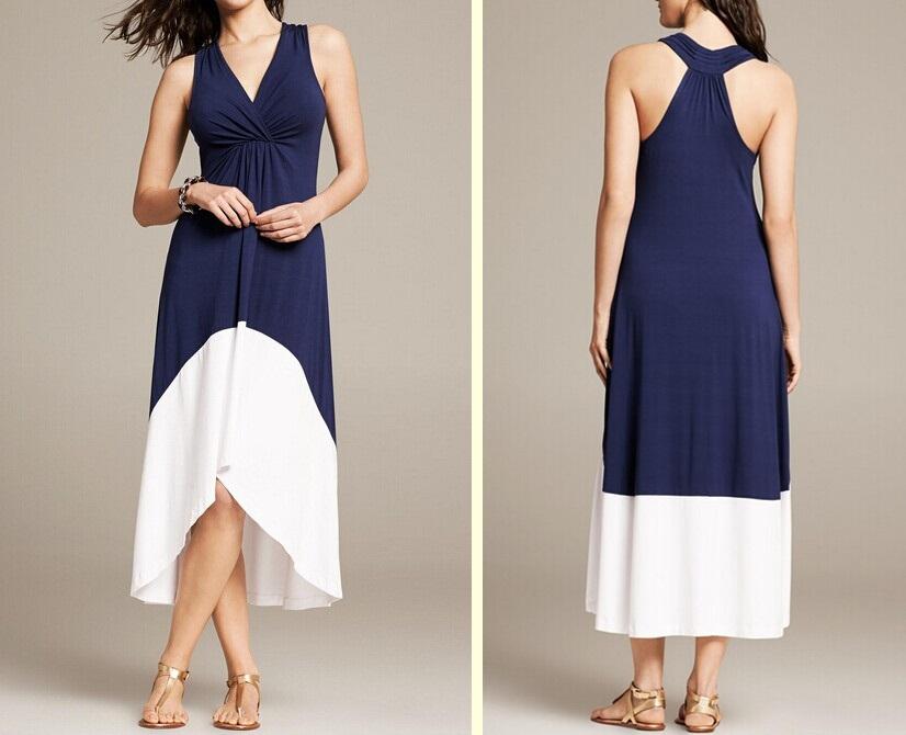 Colorblock Short Front Long Back Maxi Dress