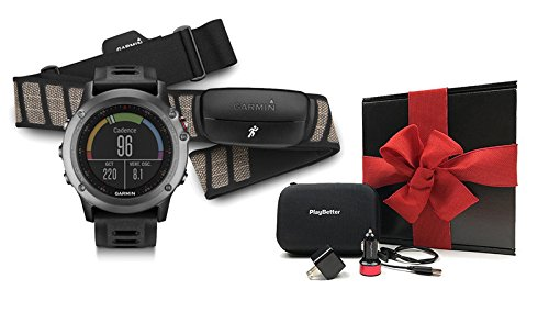 Garmin fenix 3 (Gray) Performer Bundle Ultimate Gift Box (with Chest Strap HRM) | Includes Multi Sport GPS Fitness Watch, Chest HRM, PlayBetter USB Car/Wall Adapter, Hard Case Black, Gift Box