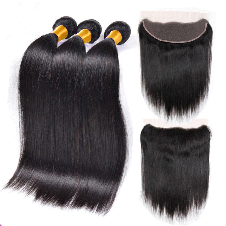 "Jiefar hair Top 7A Mink Brazilian Virgin Hair With Closure Brazilian Straight Hair With Closure Lace Frontal Closure With Bundles (18"" 20"" 22""+18"")"