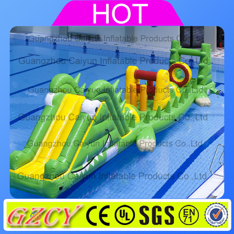 2016 Popular inflatable crocodile water toy floating crocodile water obstacle course