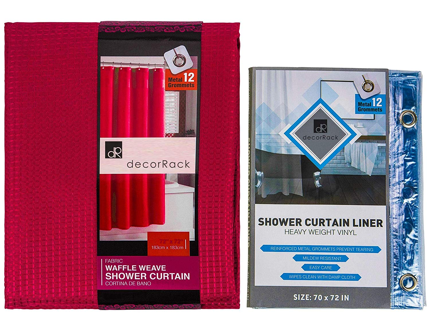 Get Quotations DecorRack Red Fabric Shower Curtain Set Bathroom Accessories Clear Liner Mildew Resistant