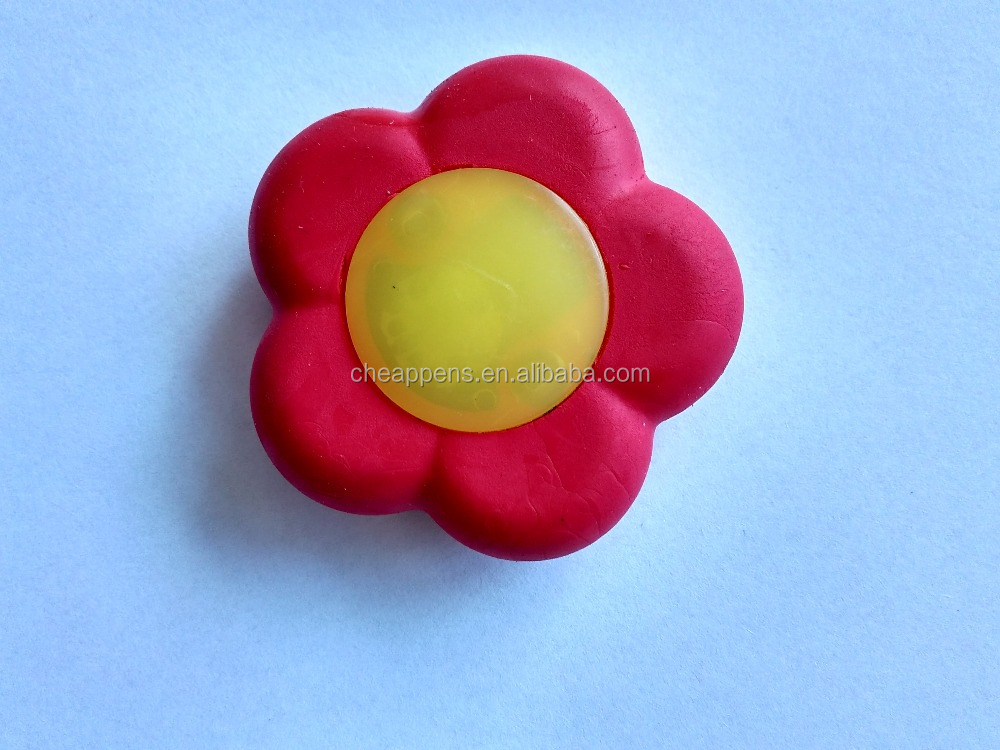 magic kids 3d custom plum blossom shape electronic light up rubber eraser for promotion