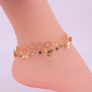 Xingdaimei Jewelry 24K gold Rhinestone Fashion women Pure manual chain anklet designs S0026