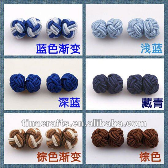 Fashion 2 colours fabric knot cufflink