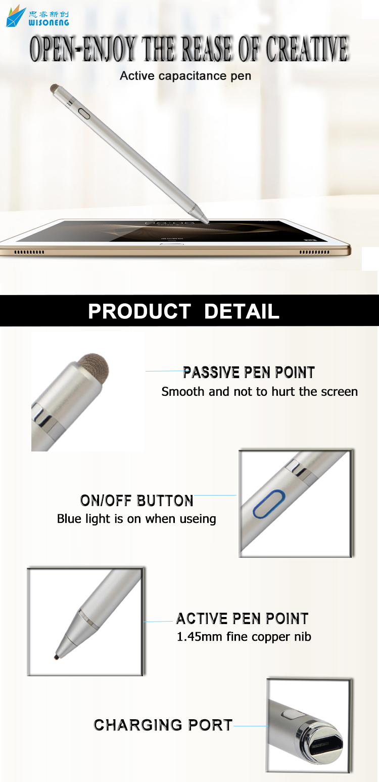 Capacitive 1.45mm fine point 2 in 1 stylus touch screen drawing pen