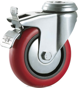 Medium duty caster wheel swivel bolt hole metal bracket polyurethane plastic shopping cart trolley wheels