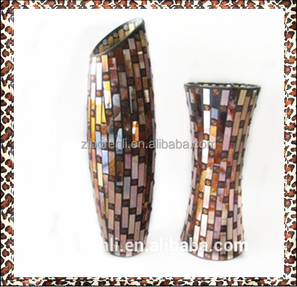 Tall Classical Mosaic Ornament Home Interior Handmade Color Antiques Brass Vases India