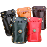 Scissors Case Retro Leather Hair Scissors Bag Waist Pack Hold 4 Scissors Barber Tool Holster