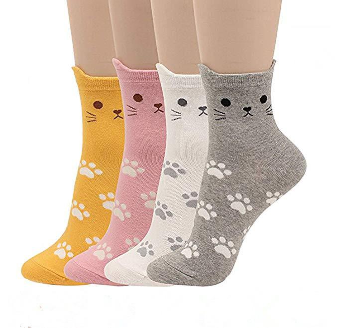 New Womens Wholesale Cotton In The Tube Big Red Variety Cartoon Unicorn Kitten Animal Socks Feather Yarn Ladies Christmas Sock Socks