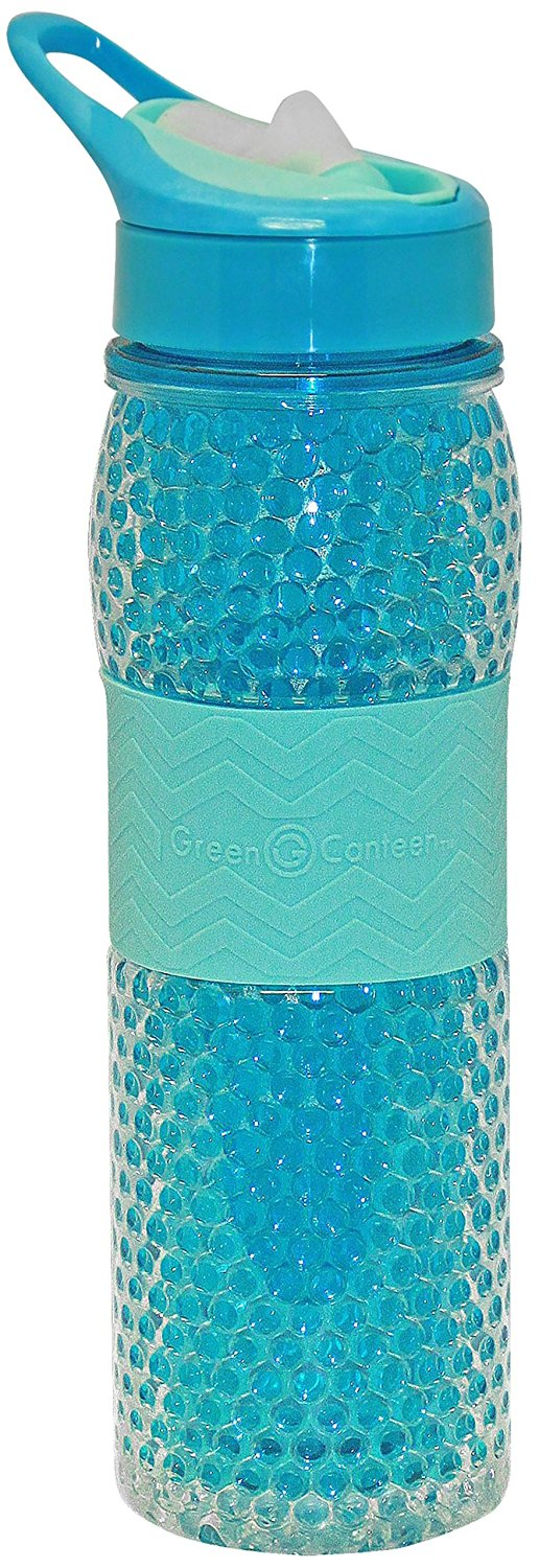 12 oz Green Canteen DWTBGK-400-PAA Double Wall Tritan Plastic Hydration Bottle with Beaded Freeze Gel Sippy Cap and Silicone Band Pink//Aqua