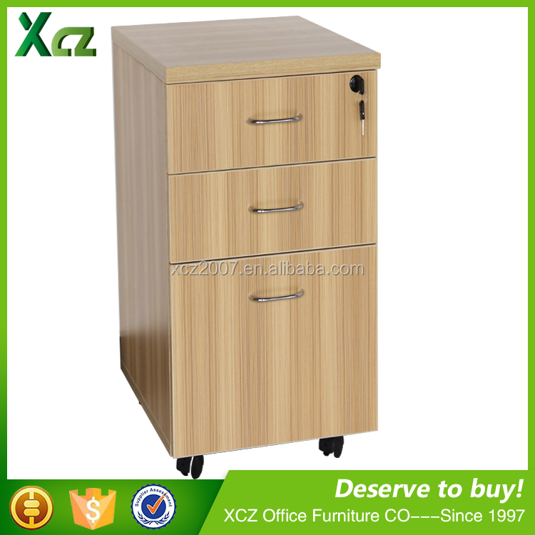 Top selling 3 drawer wooden mobile pedestal/movable file cabinet