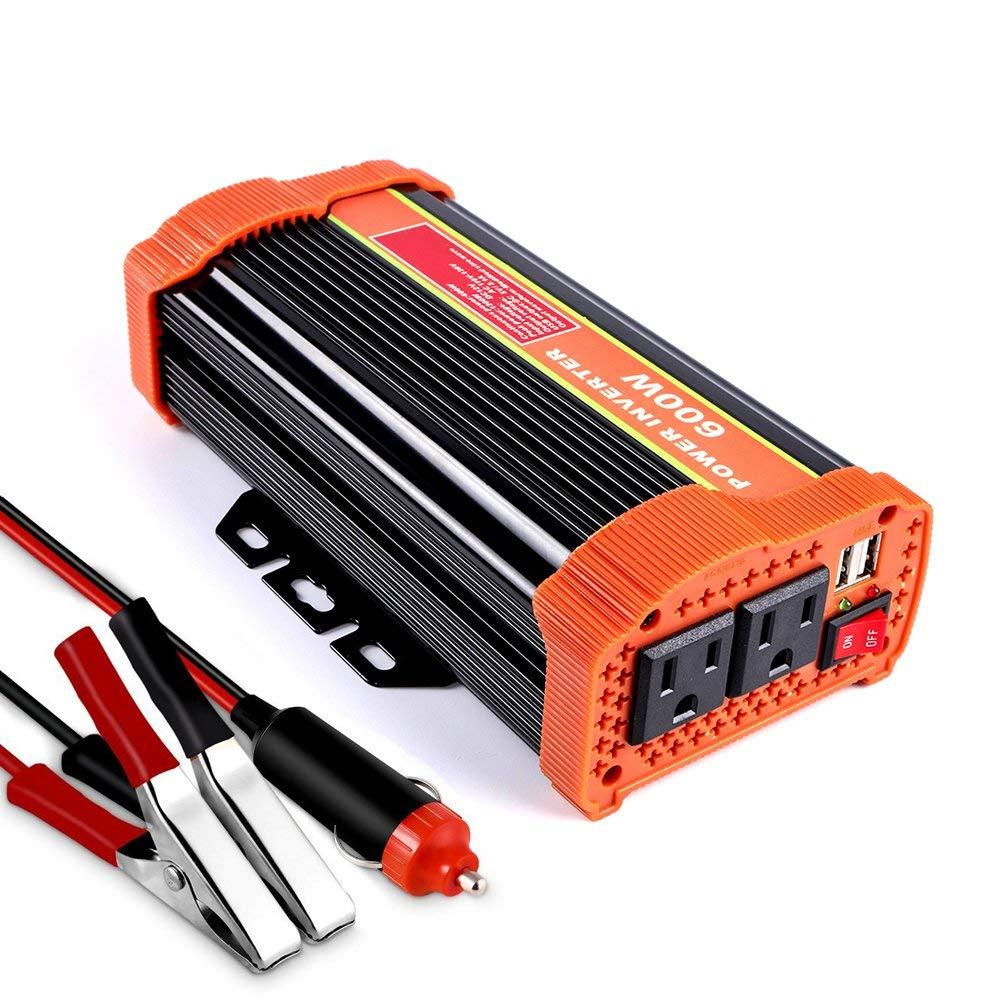 FidgetFidget Home Power Inverter 500W 12V//24V//48V to 120V 60HZ Off Grid Pure Sine Wave