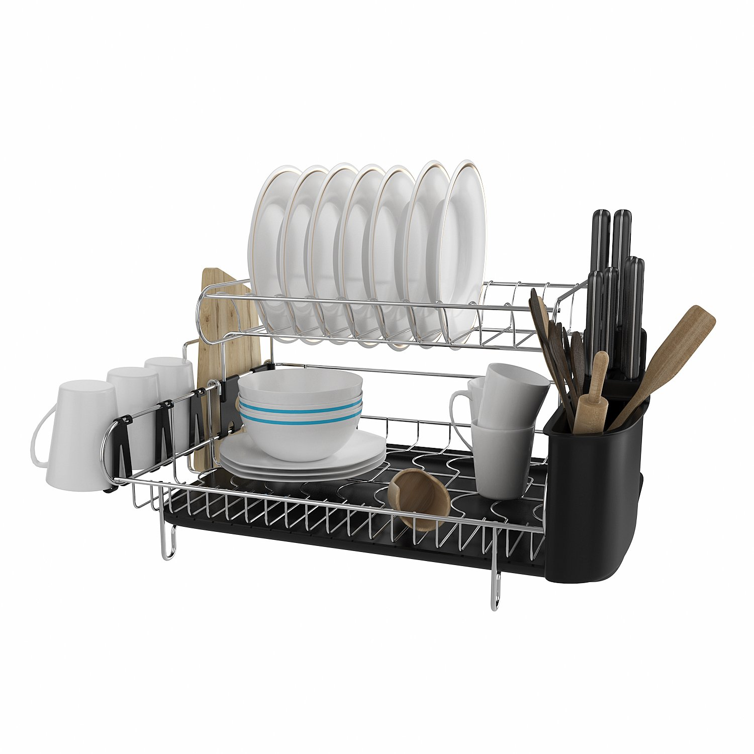 Flagup Professional Dish Rack, 304 Stainless Steel, 2 Tier Deluxe Chrome Kitchen Dish Drainer Drying Rack with Microfiber Mat & Drainboard & Cutlery Holder, Large Capacity