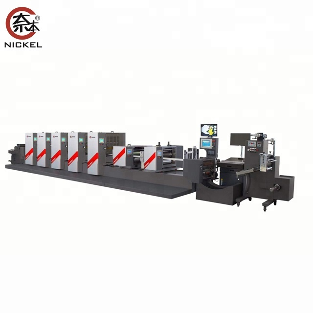 350mm roll sticker label semi rotary 4 kleur offset label printing machine