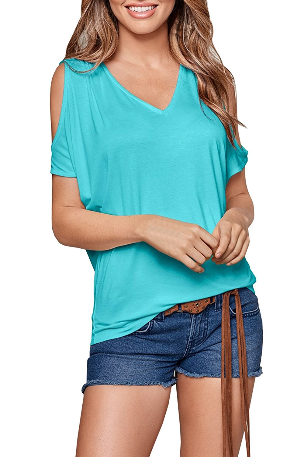 83a69ca309e01f Get Quotations · Dellytop Womens Cold Shoulder V Neck Casual Shirts Loose  Fitting Tops Oversized Blouses