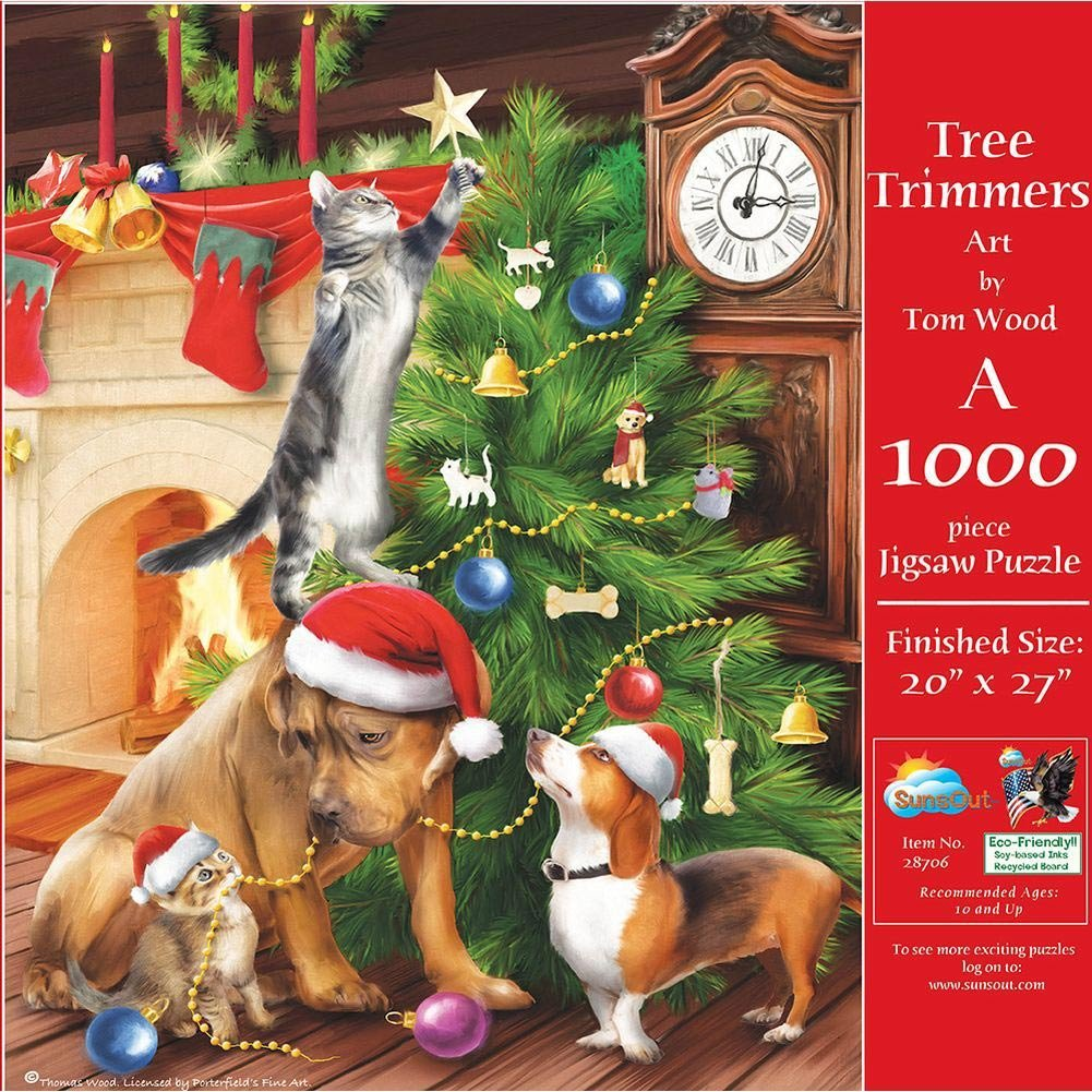 SunsOut Tree Trimmers Christmas Theme Cats and Dogs Puzzle 1000 Pc Jigsaw Puzzle by