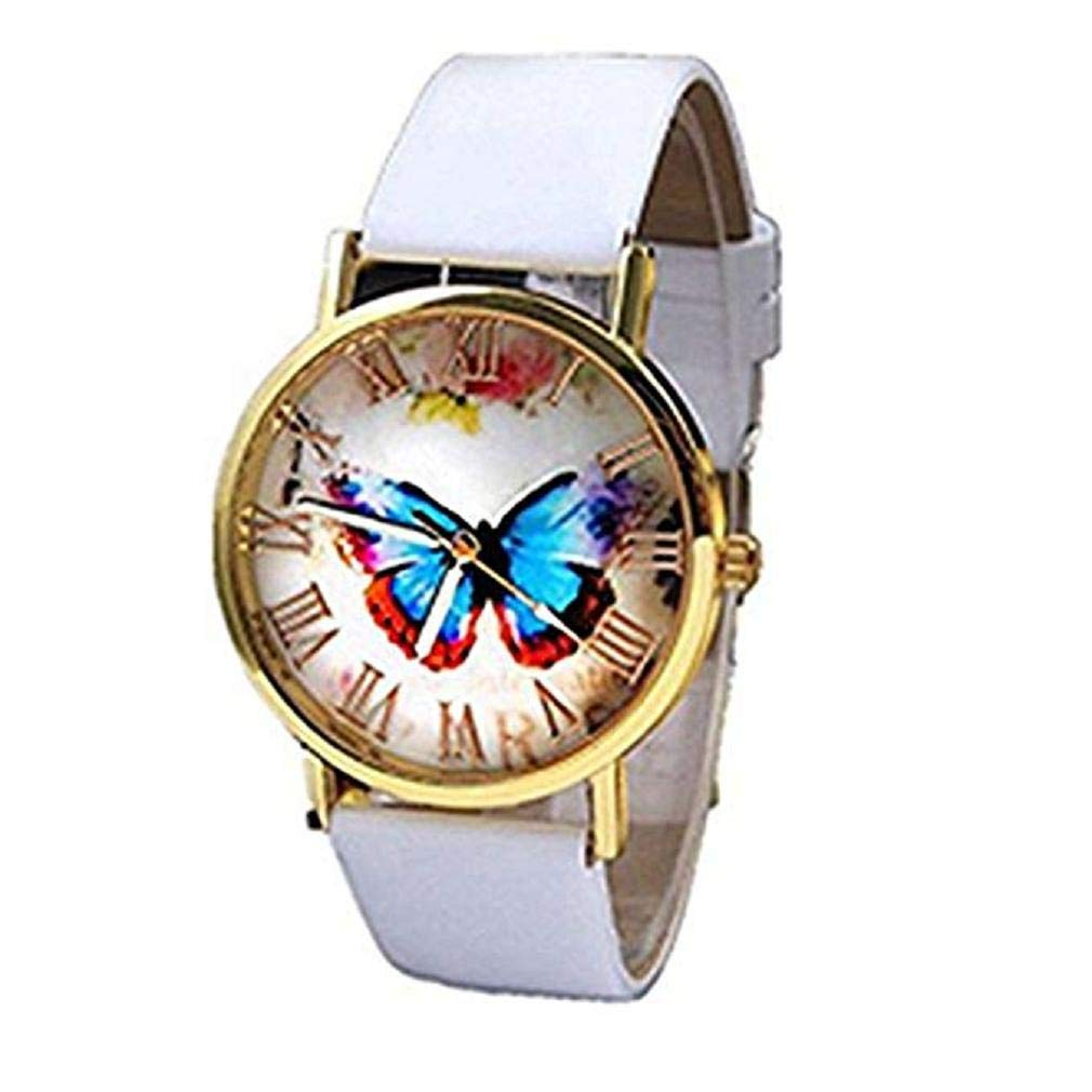 Butterfly Watches for Women, Windoson Unique Analog Fashion Lady Watches Female Watches Casual Wrist Watches for Women Comfortable PU Leather Watch (White)