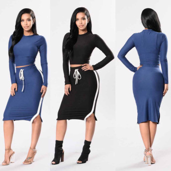Women 2 Piece Suits Dress Design Top / Bottom Matching Set Crop Top And  Skirt Set , Buy Women 2 Piece Matching Suits Dress,Crop Top And Bodycon  Skirt