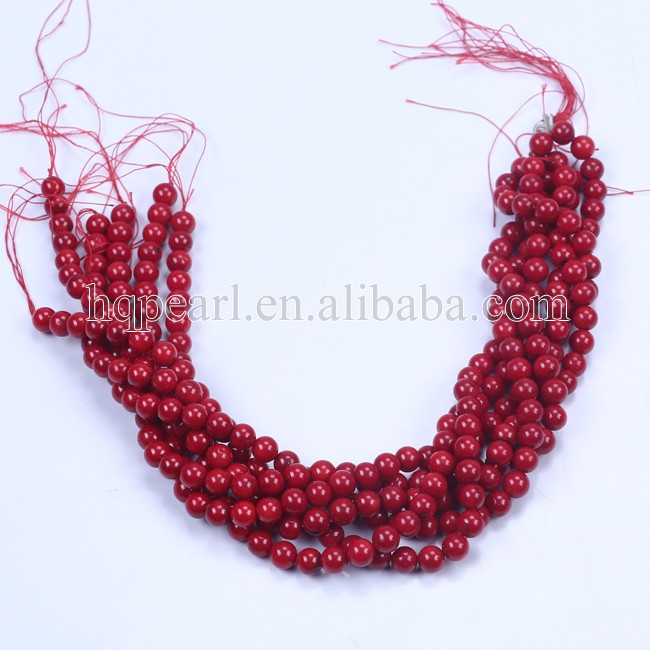 Red coral beads smooth dyed semi precious stone beads for jewelry