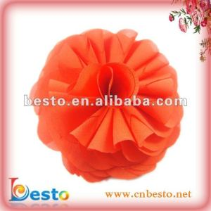 wholesale handmade chiffon corsage fabric flower with metal clip for party