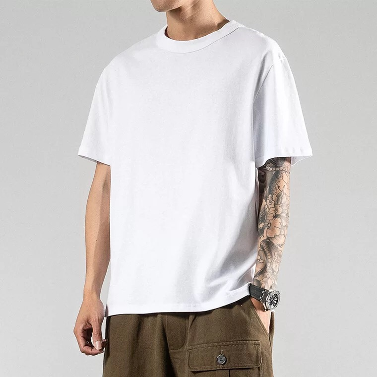 wholesale high quality custom logo loose oversize casual hip top high street blank plain t shirt for <strong>men</strong>
