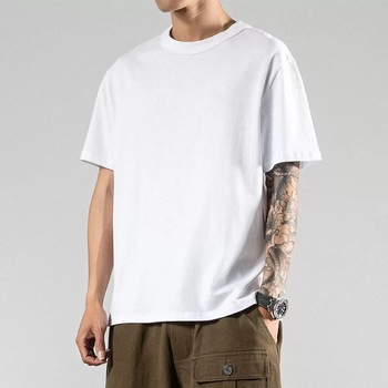 wholesale high quality custom logo loose oversize casual hip top high street blank plain t shirt for men