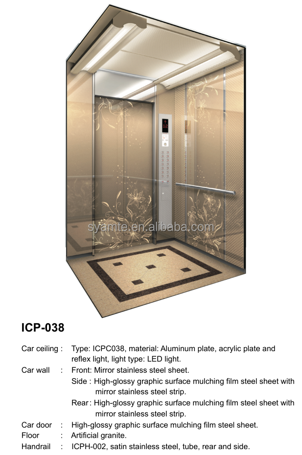 Top quality commercial elevator and passenger lift with cabin design updated