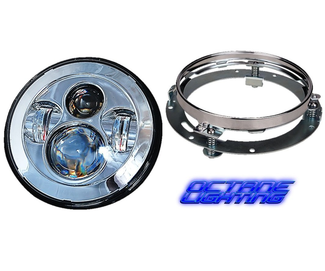 "OCTANE LIGHTING 7"" Motorcycle Chrome Projector Daymaker HID LED Light Bulb Headlight For Harley"