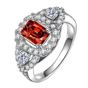 CAOSHI Gorgeous 925 Silver Square White Ruby Ring Jwellery Silver Gold Plated Red Zircon Ring
