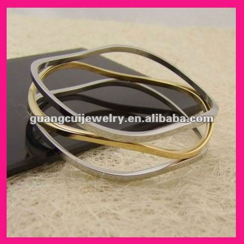 fashion stainless steel two tone gold plated lakh bangles