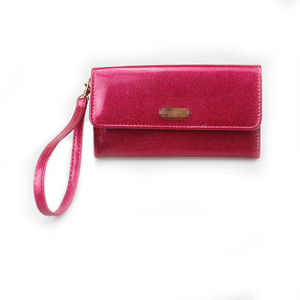 Fashion Women Glitter PU Red-Rose Red Flap Colorblock Wallet
