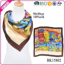 TOROS wholesale 100% twill pure silk scarf 90x90