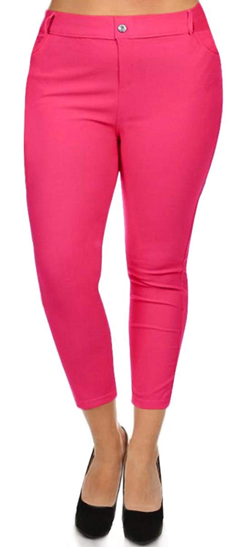 730ac2b2230 Get Quotations · Simlu Womens Plus Size Slim Fit Jeggings 5 Pocket Skinny  Capri Jeggings