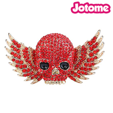 100pcs a lot Cute Gold-Tone red Austrian Crystal Skull Wing Brooch for Halloween