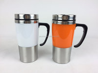 350ml double wall stainless steel travel mugs with handle,thermos shells available in various colors