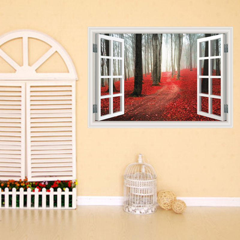 Creative Home Decor Fake Window Wall Stickers Red Maple Grove Pattern For Living Room Mural Art Decal Wallpaper 60 90 Cm