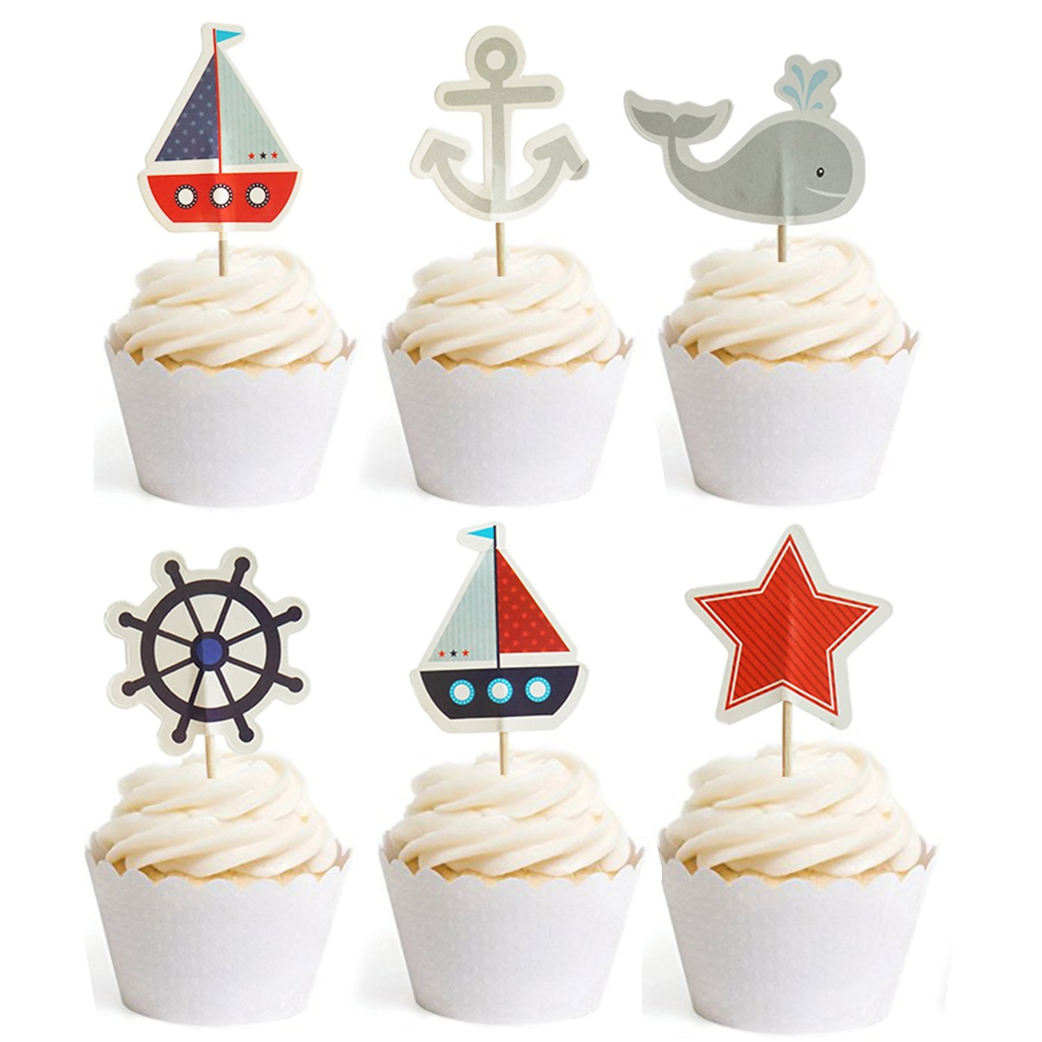 Nautical Cupcake Toppers Whale Cake Decorations For Baby Shower Wedding Birthday Party 24 Counts By GOCROWN