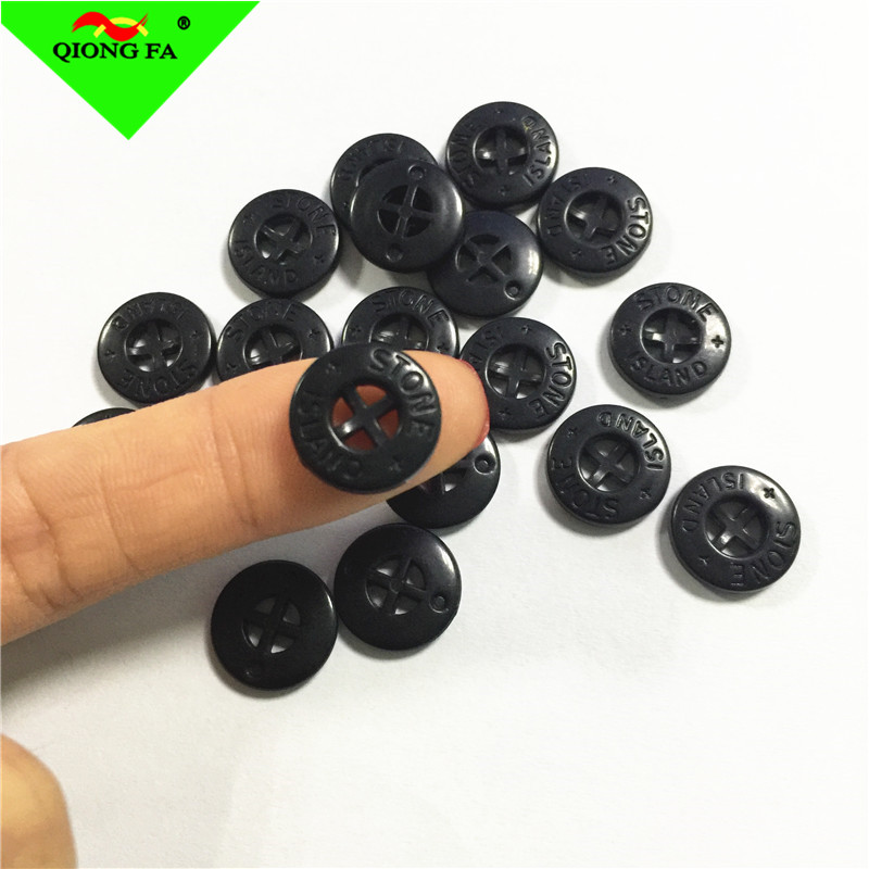 HYD 14mm Plastic Button Laser Concave Logo Stone Engrave Island Shirt Button Maker Black Color Plastic Cross Shape Button