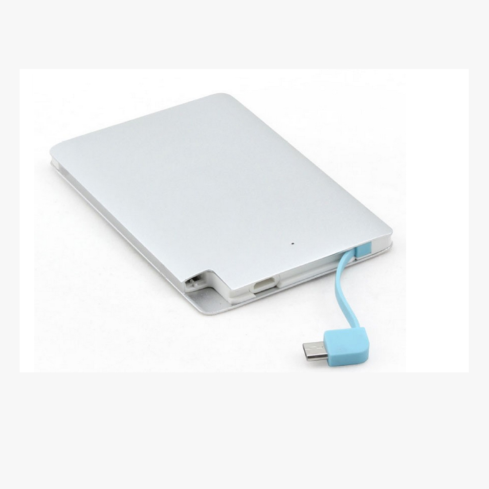 ultra thin wholesale credit card portable power bank with 2500mAh