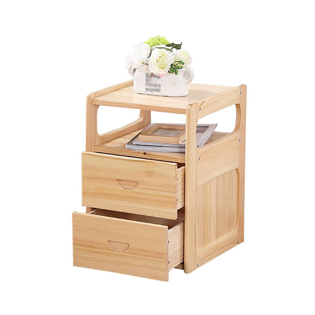 Rack shelf All Solid Wood Bedside Cabinet Minimalist Bedroom Storage Cabinets Creative Pine Wood Bedside Cabinet Drawer Cabinet Lockers (Size : 50cm)