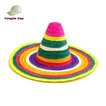 e9b82855c54 Handmade Wholesale 2015 NEW Wide Large Floppy Brim Sombrero Mexican Straw  Hat Rainbow