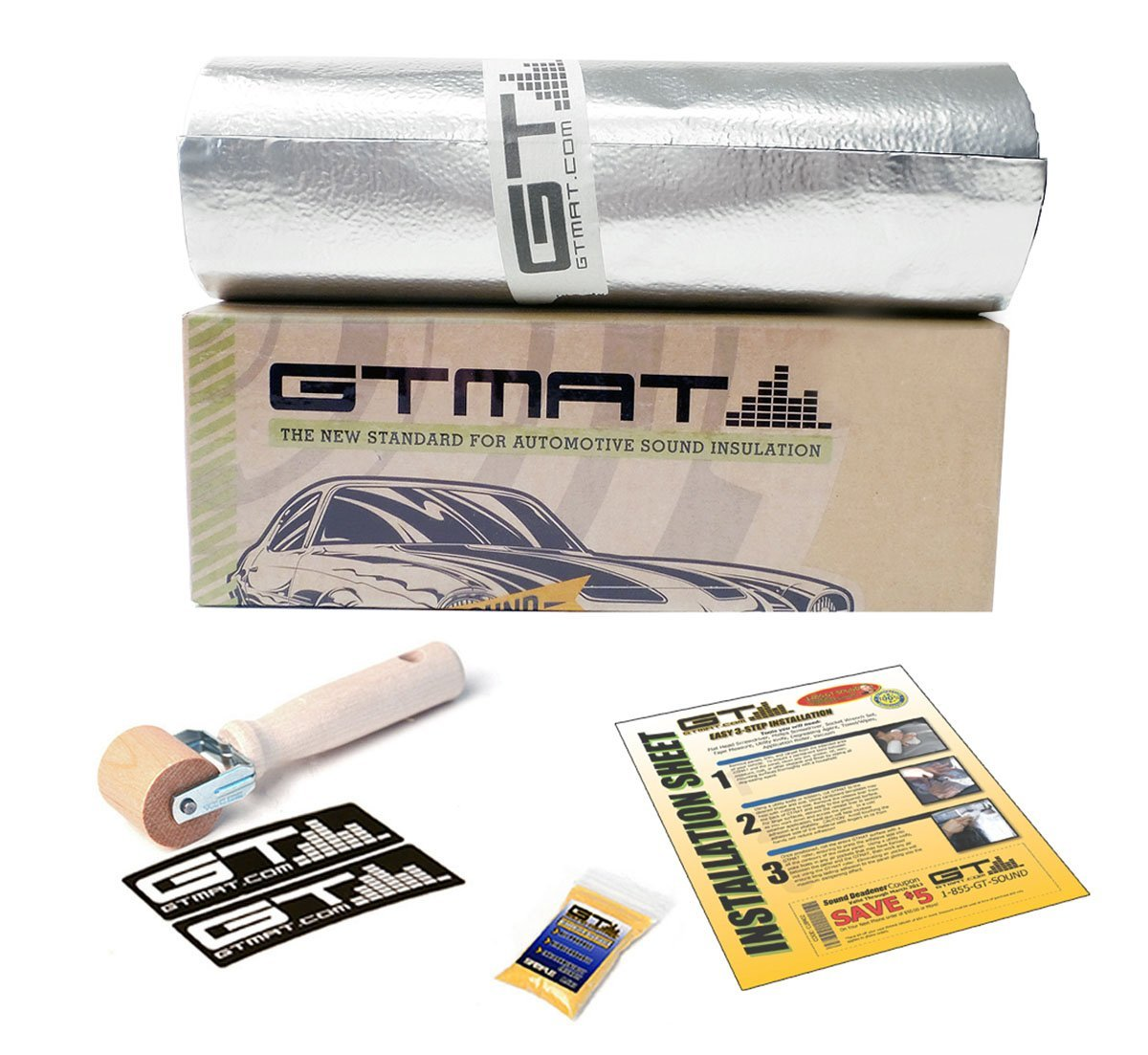 "GTmat Ultra 80mil 8"" Wide Car Automotive Sound Deadener Material Roll Noise Dampener Kit with Wooden Roller - Pick Your Size! (25sqft (8""x38') 80mil Roll)"