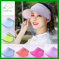 Fashion Face Protection Sun Hat Summer Hats For Women Foldable purple Anti-UV Wide Women Hat Summer
